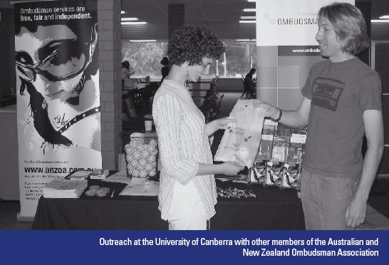 Outreach at the University of Canberra with other members of the Australian and New Zealand Ombudsman Association