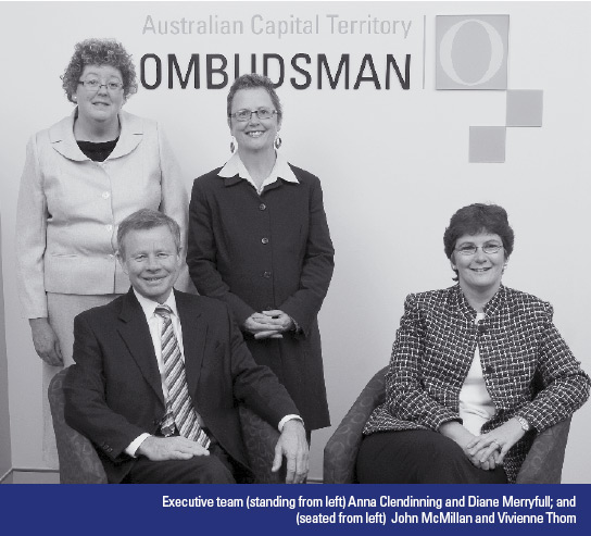 Photo: Executive team (standing from left) Anna Clendinning and Diane Merryfull; and (seated from left) John McMillan and Vivienne Thom