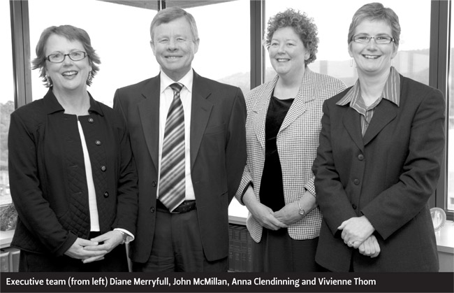 Executive team (from left) Diane Merryfull, John McMillan, Anna Clendinning and Vivienne Thom