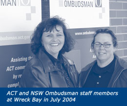 ACT and NSW Ombudsman staff members at Wreck Bay in July 2004