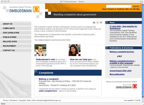 Homepage of redeveloped ACT Ombudsman internet site (www.ombudsman.act.gov.au)