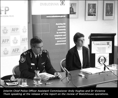 Interim Chief Police Officer Assistant Commissioner Andy Hughes and Dr Vivienne Thom speaking at the release of the report on the review of Watchhouse operations.